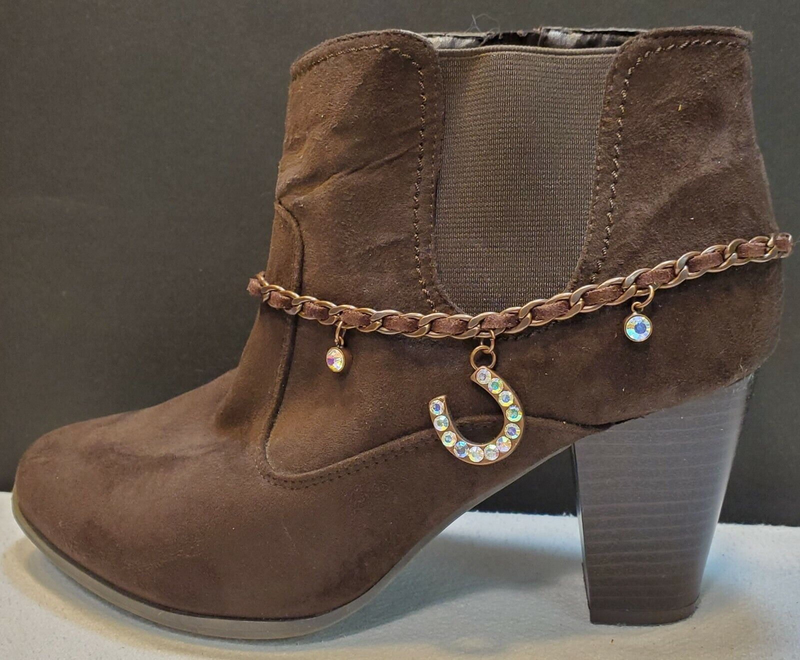 Adjustable brown leather and copper chain with rhinestone horseshoe boot charm
