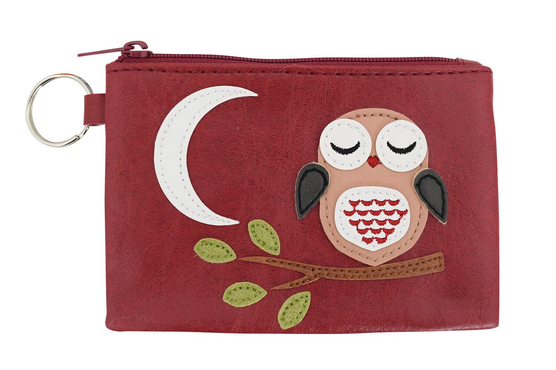 Lavishy Owl and Moon Vegan Leather Applique Coin Purse ID Key-chain