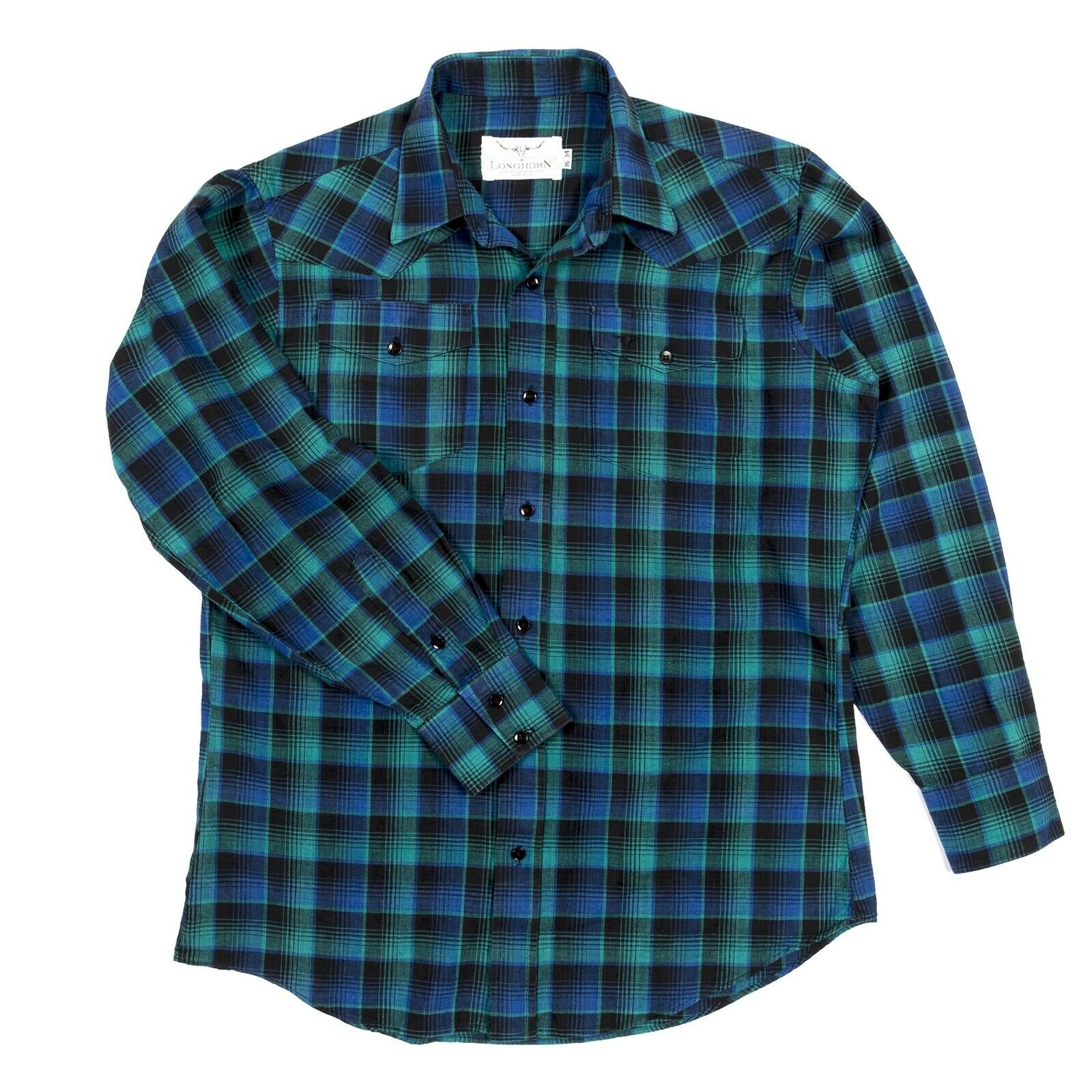 Longhorn River Western Wear Pearl Snap Mens Shirt 16 34 bluee & green plaid NWOT