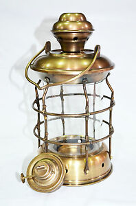 Antique-Brass-Ship-Oil-Lantern-Lamp-For-Home-Collectible-Decorative-10-034