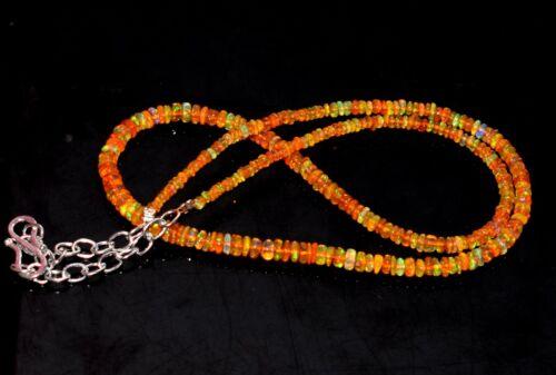 "27Crt 16/""Natural Ethiopian Orang Opal Wello Fire Opal Gemstone Bead Necklace M06"