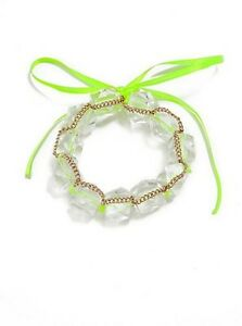 NWT-Guess-Gold-Metal-Clear-Lucite-Bead-Neon-Yellow-Ribbon-Bracelet-w-Bow-Tie