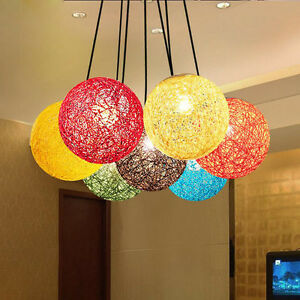 Image Is Loading Modern Rattan Wicker Ball Ceiling Light Pendant Round