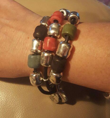 Pulsera señoras de la alta calidad de joyería CICLON Plata Plateado /& Cuero BNWT pequeño