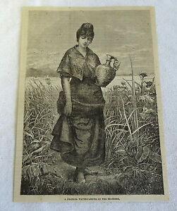 1882-magazine-engraving-GRANADA-WOMAN-CARRYING-WATER-ON-SEASHORE-Spain