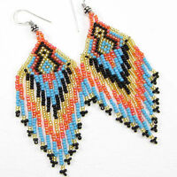 Iris Orange Blue Beaded Earrings Native Fashion Jewelry