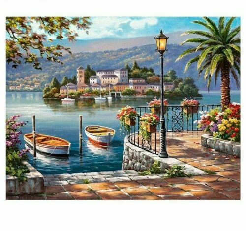 Seaside Boat Diamond Painting Full Square Drills Embroidery Design Pattern Decor