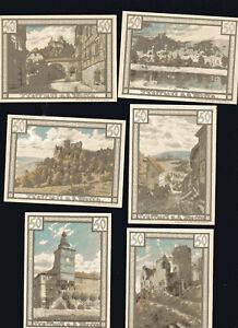6x-Notgeld-TREFFURT-Thueringen-50-Pf-Serie1922-Landschaft-Ansichten-top
