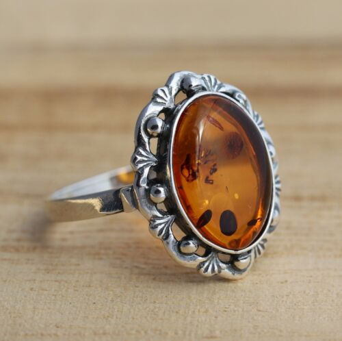 Cognac BALTIC AMBER 925 Sterling Silver Ring Bijoux