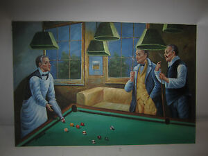 Billiards Pool Table Art Oil Painting Hand Painted Canvas Game Room - Pool table painting