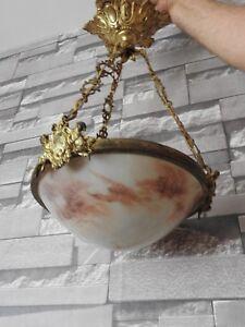Ancien Lustre Suspension Monture Bronze Vasque Opaline Plafonnier Lumière