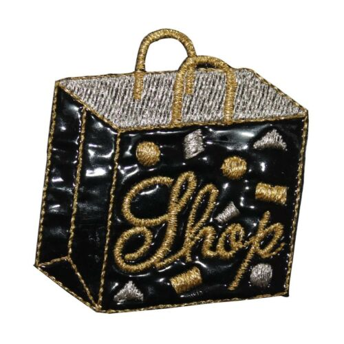ID 8383 Shiny Black Shopping Bag Patch Vinyl Fashion Embroidered IronOn Applique