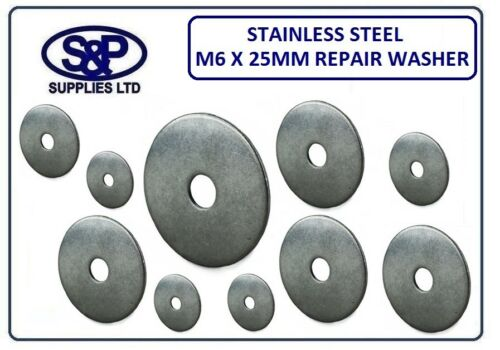 M6 6mm X 25MM STAINLESS STEEL REPAIR WASHER PENNY WASHER 25MM OUTSIDE 6MM