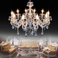 Modern Crystal Ceiling Lighting Chandelier 10 Light Lamp Pendant Fixture Cognac