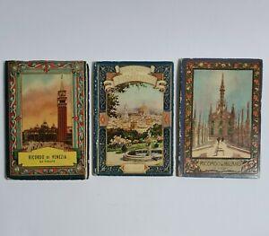 3 Anciens Albums dépliant Plans Photos Villes Italie MILANO VENEZIA FIRENZE 1900