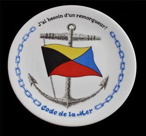 Porcelaines Champs Elysees Paris French CODE DE LA MER Flag Nautical Plate #5