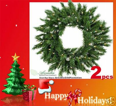 TWO 30  Artificial Pine Wreath with with with Light Christmas 130 867c3f