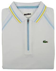 eb43f8894 Lacoste Sport Womens White Blue Contrast Stitch Zip Up Polo Shirt ...