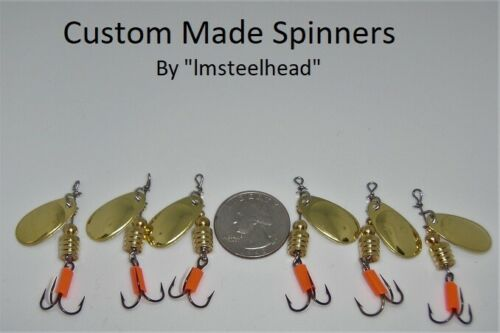 1 Lot of 6 Custom Trout #1 Gold Color French Blade Spinners 1//8 Oz Each
