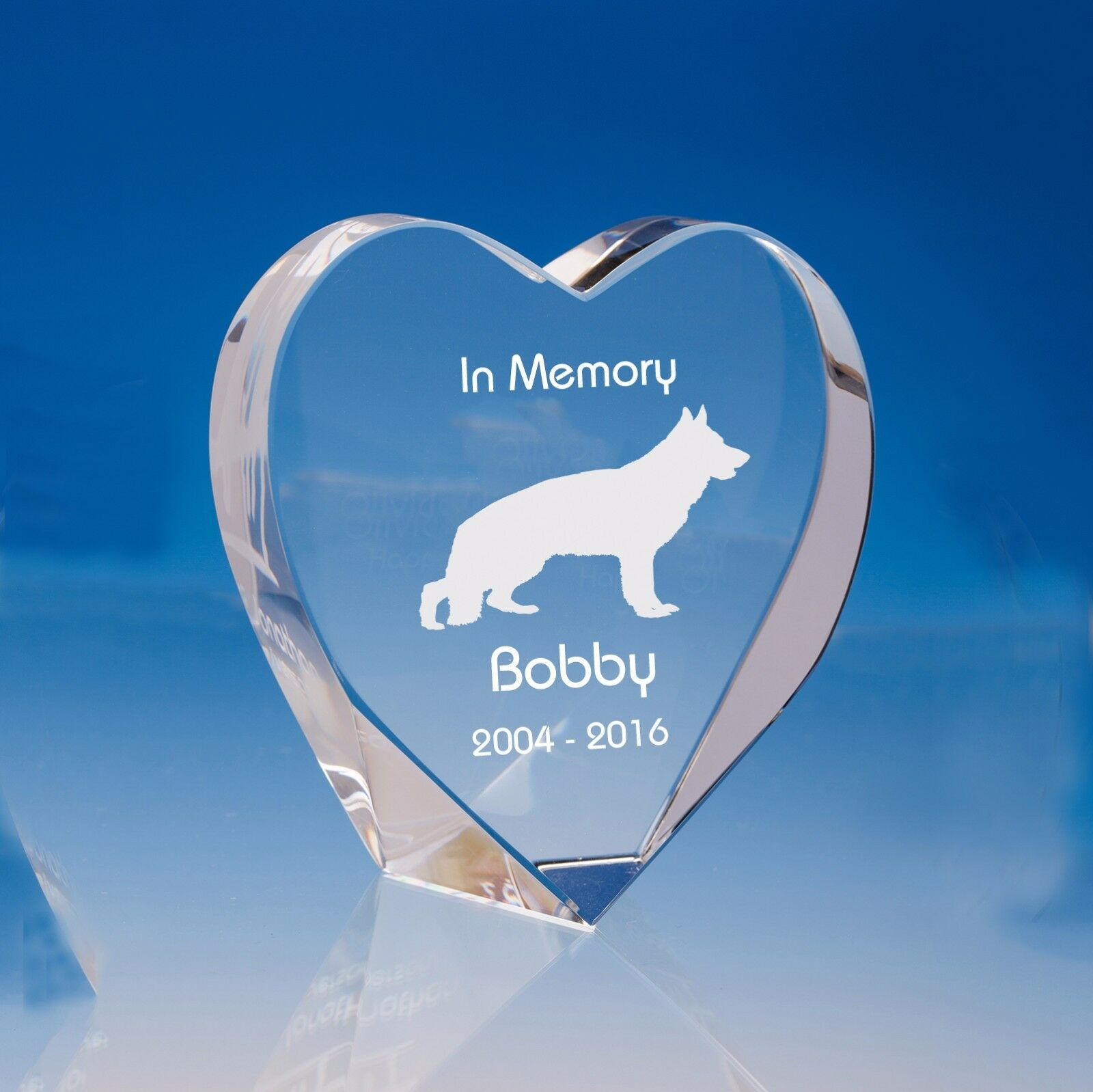 Pet Dog Memorial Personalised Engraved Crystal Heart - Choose Breed and Message