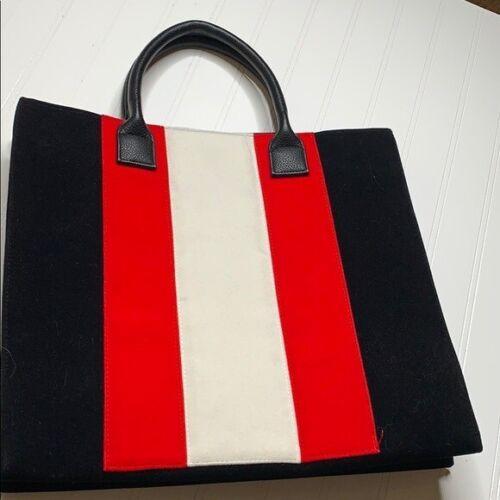Lulu Dharma Black Red White Velvet Tote Bag
