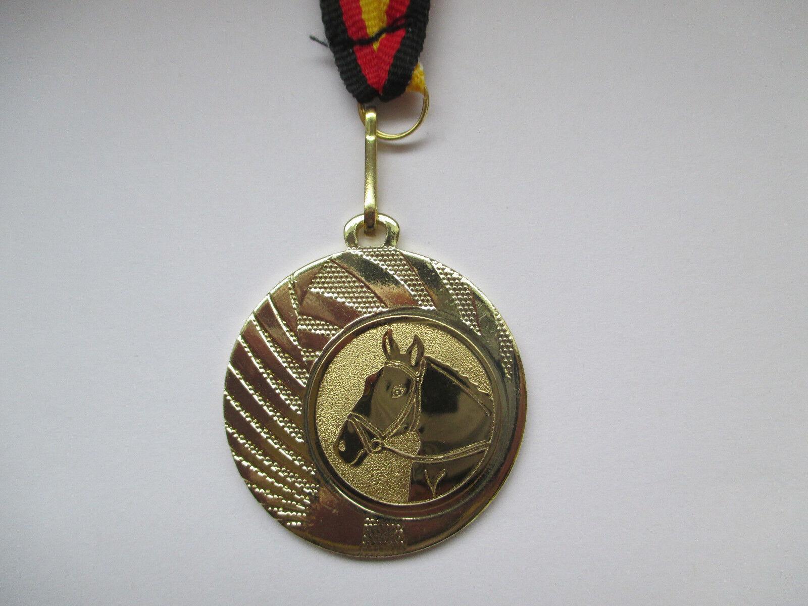 Reiten Pferd Pokal Kinder 50 x Medaillen m. Deutschland-Bändern Turnier Emblem