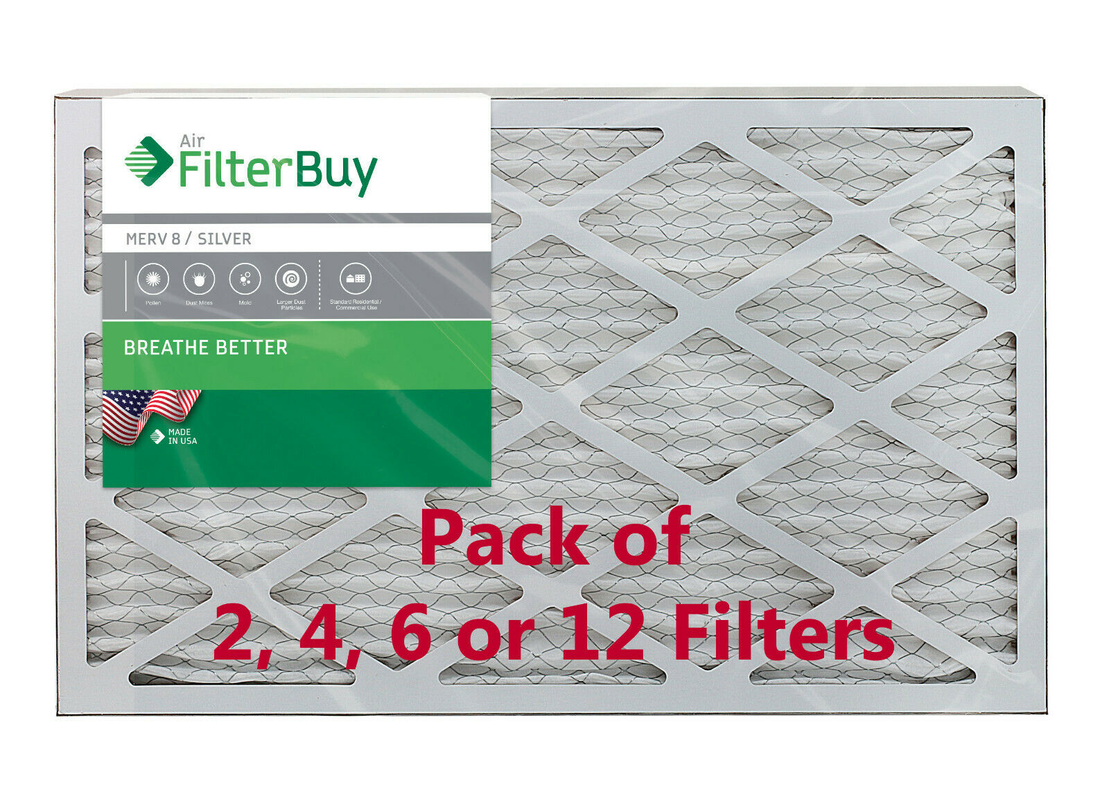 2 Pack 2 Piece Nordic Pure 10x20x1 MERV 14 Plus Carbon Pleated AC Furnace Air Filters