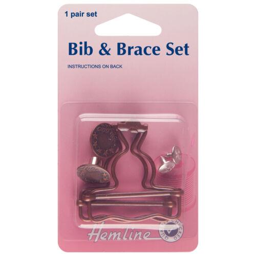 Hemline 40mm Bib and Brace Set 1 Pair in Bronze  Dungaree H468BRO