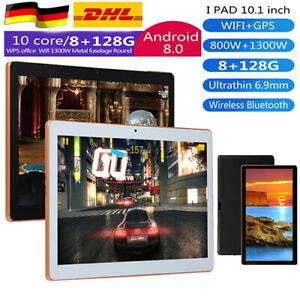 10,1 Zoll 8GB+128GB 4G-LTE Tablet Android 8.0  Bluetooth PC ROM 2 SIM mit GPS Ka