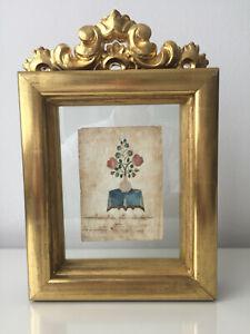Antiker bestickter Brief – Kurrentschrift – wohl um 1840 – Blumen auf Tisch