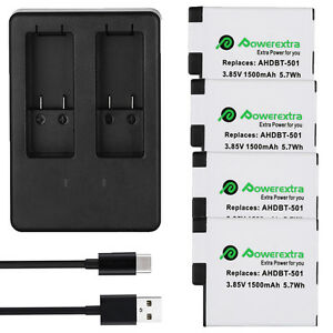 1500mAh AHDBT-501 Battery & USB Dual Charge For GoPro Digital Hero 5 Hero5 Cam U