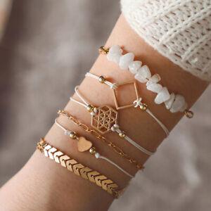 6Pcs / Set Frauen Böhmisches Armband Edelstein Perlen handgefertigte ArmreifXUI