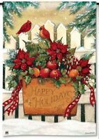 Happy Holidays Holiday Gate Christmas Small Garden Flag Banner 12.5x18