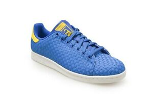... Hommes-ADIDAS-STAN-SMITH-Bleu-Jaune-tisse-baskets-