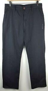 Billabong-Mens-Striped-Black-Pants-Sz-32-Casual-Wide-Leg-Polyester-Blend-EUC