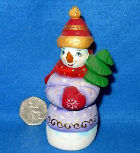 Snowman-Figure-Small-Russian-Doll-Christmas-Tree-HAND-PAINTED-amp-CARVED-signed