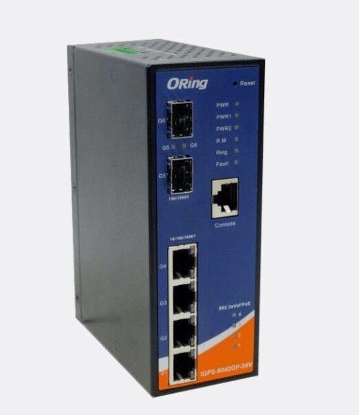 ORing IGPS-9042GP-24V 6Port Managed Gigabit Network Switch PoE+ 2xSFP Industrial