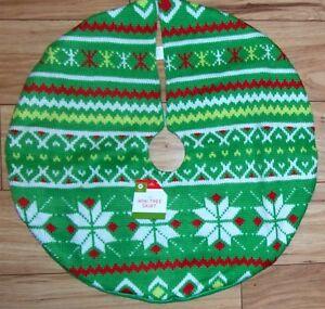 christmas tree skirt sweater knit fair isle mini - Teal Christmas Tree Skirt
