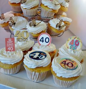 40th Birthday Party Edible Cupcake Toppers Cake Decorations 40