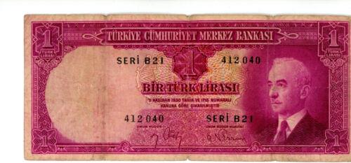 Turkey ... P-135 ..... 1 Lira .... L.1930(1942) ...*VG++*