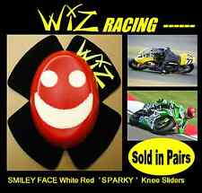 SPARKY WIZ KNEE SLIDERS SMILEY FACE WHITE-RED