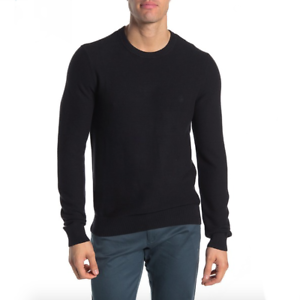 Original-Penguin-Mens-Black-Ribbed-Crew-Neck-Long-Sleeve-Sweater-Size-L-XL