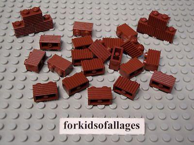 25 Lego 1x2 Bricks w// Grill Profile Dark Stone Gray Castle Wall Car Grille Parts