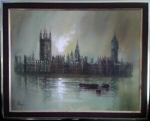 Large-Oil-On-Canvas-Signed-John-Bampfield-Houses-Of-Parliament-From-The-Thames