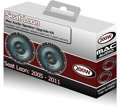 Seat Leon Front Door speakers Mac Audio car speaker kit 200W + adapter rings