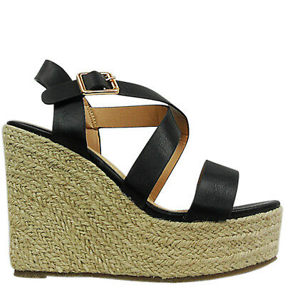WOMENS LADIES STRAPPY HIGH HEEL WEDGE ESPADRILLES PLATFORM SANDALS SHOES SIZE | eBay