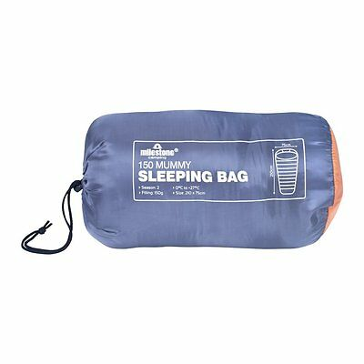 MILESTONE MUMMY SLEEPING BAG WARM SINGLE SUMMER CAMPING CARAVAN TRAVEL OUTDOOR