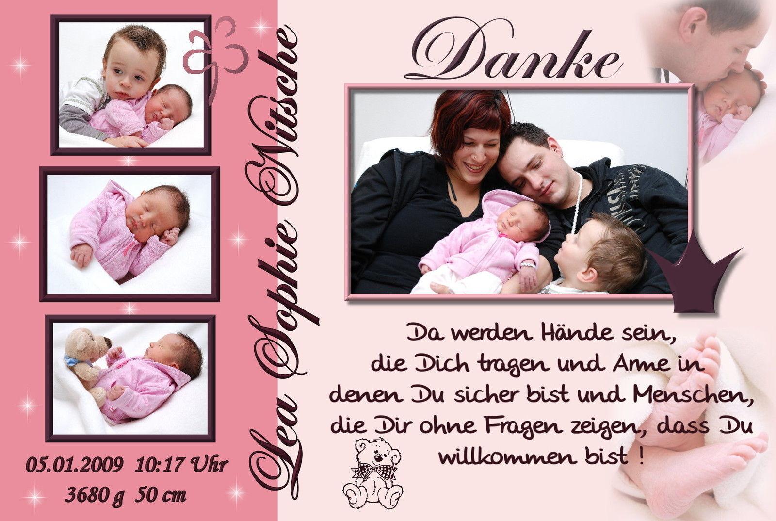 50 Danksagungskarten Geburt Danksagung Geburtskarten Foto Babykarten Geburt