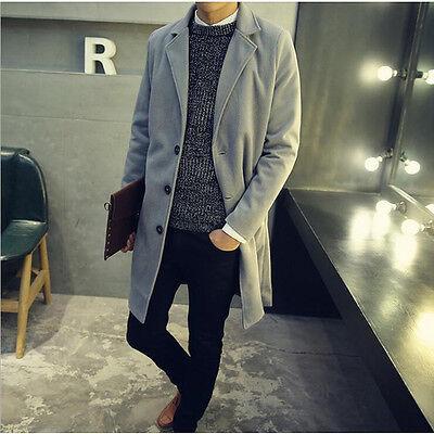 Winter Men's Windbreaker Overcoat Long Jacket  Business Casual Slim Trench Coat