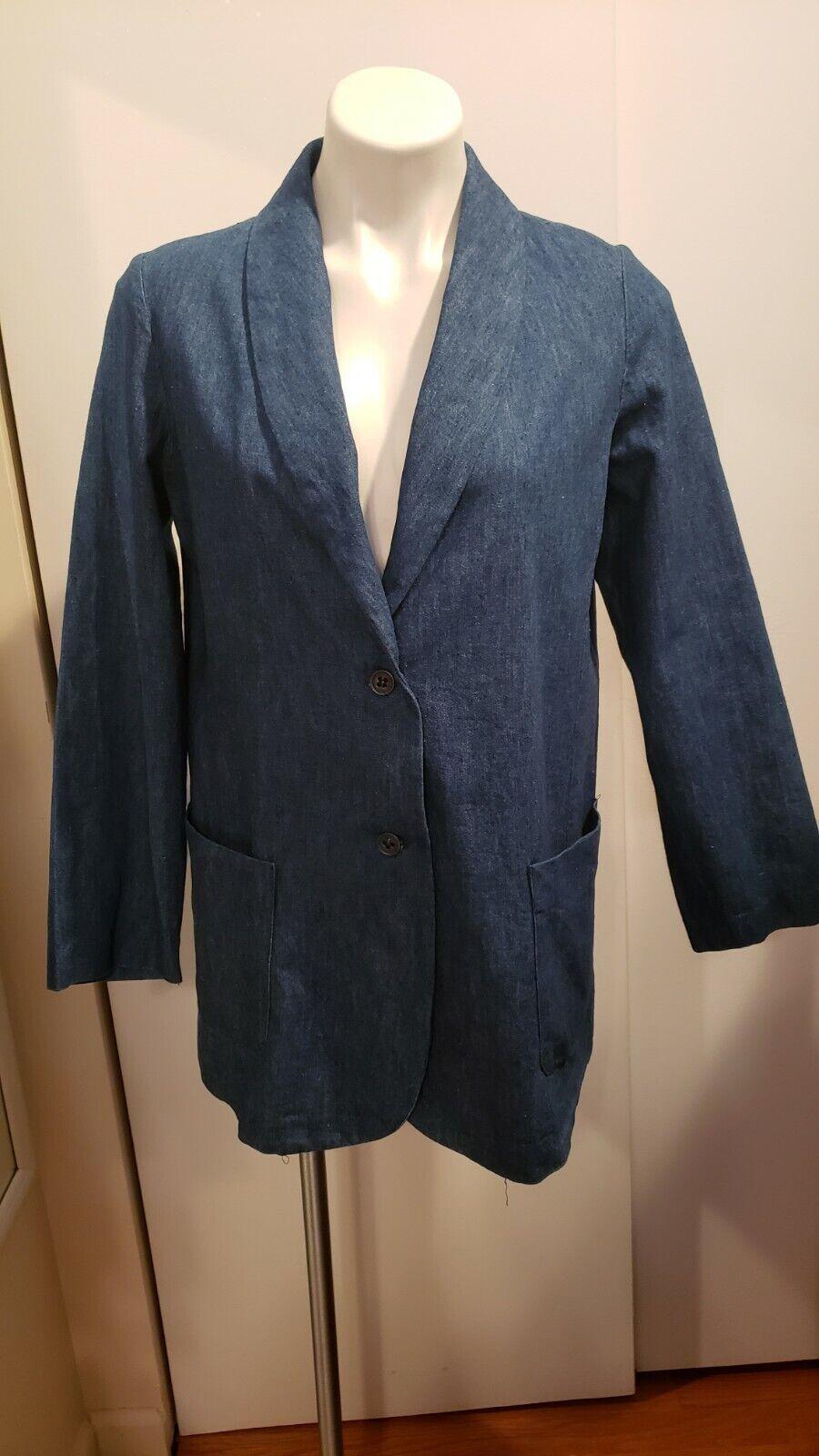 Vintage Women's Shawl Collar Denim Single-Breasted Blazer Jacket by REBORN Sz10